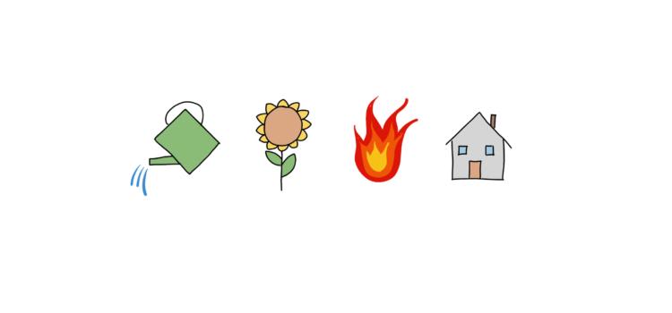 Zalévání květin v hořícím domě