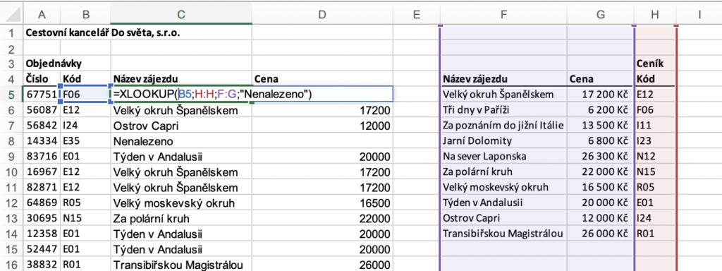 Náhrada IFERROR při vyhledávání v Excelu