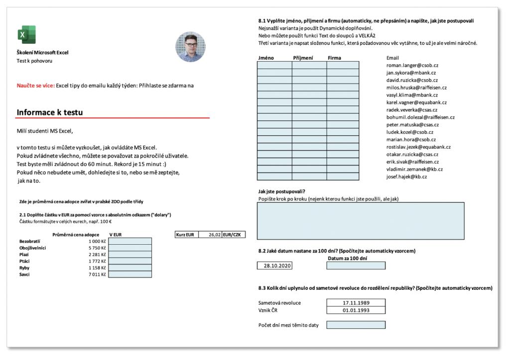Excel test na pohovor